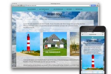 """Die responsive Webesite """"Heidelodge Amrum""""/my-amrum.de für ein Ferienhaus; Darstellung auf Motebook und iPhone"""