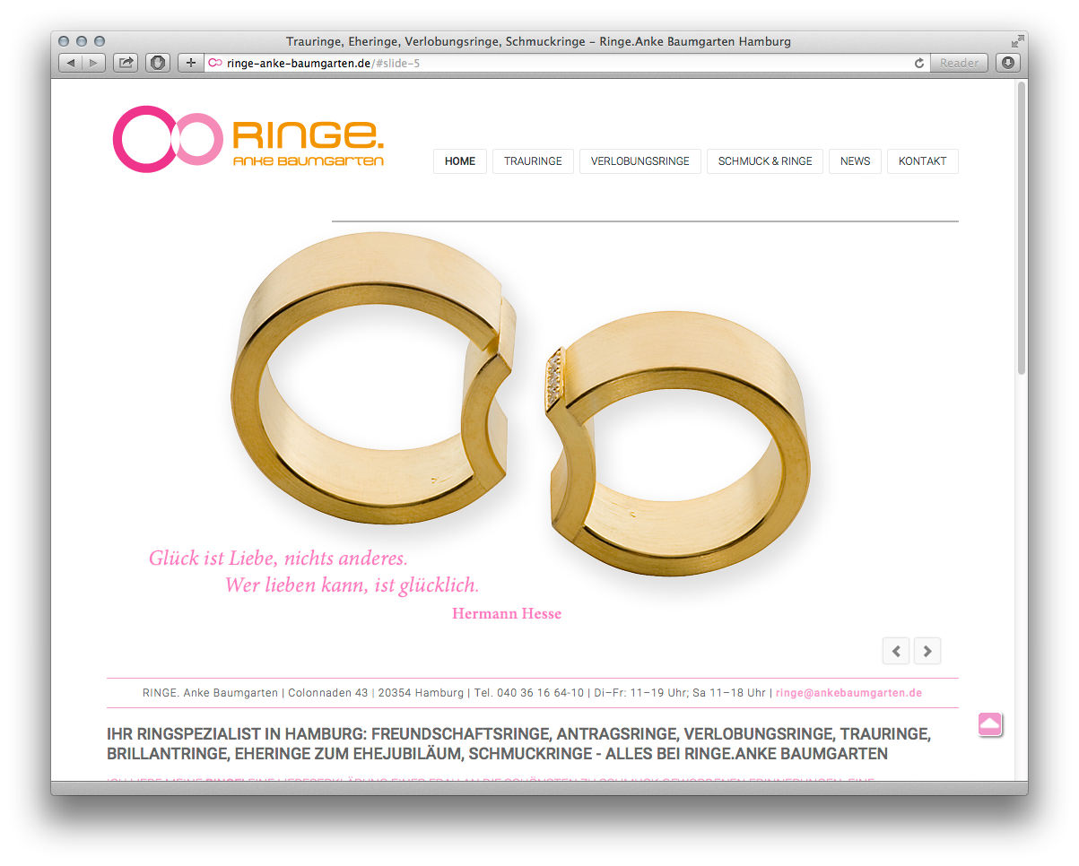 Ringe. Anke Baumgarten – Website | Studio Holfelder